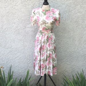 Jessica Howard Pink Green Floral Vintage Dress 👗
